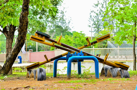 doleful: Old seesaw at the playground
