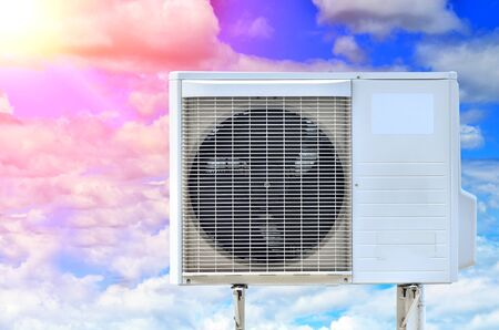 air conditioning fan ventilation on blue sky background
