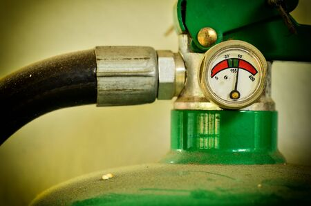 Close up Fire extinguisher tight Stock Photo