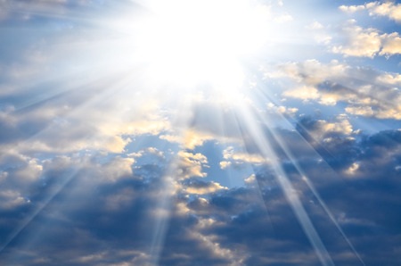 beautiful blue sky with bright sun light from heaven Stock Photo