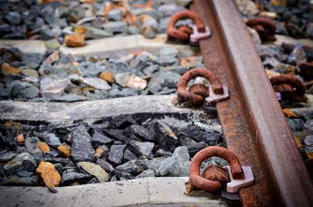 Close up Rails of railroad tracks in transporttation