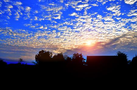 Beautiful sunset  with blue sky Stock Photo