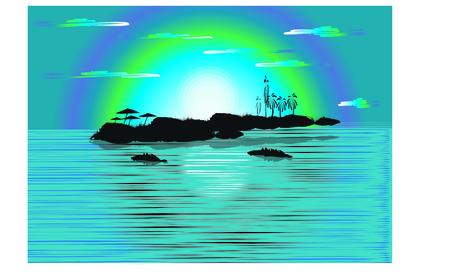Night island paradise background Illustration