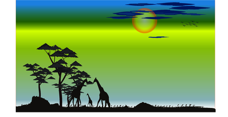silhouette lanscape Illustration