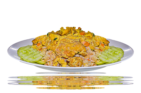 Fire rice with egg on white background