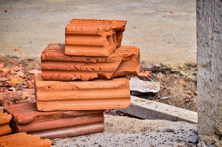 orange construction brick make wall
