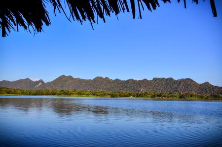 Beautiful landscape reservoir and blue sky