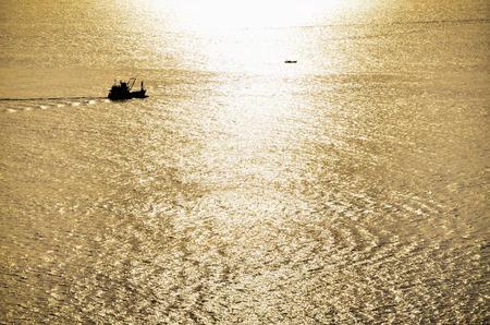 Beautiful gold sun light at ocean