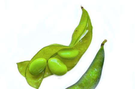 Fresh soybean isolate on white background
