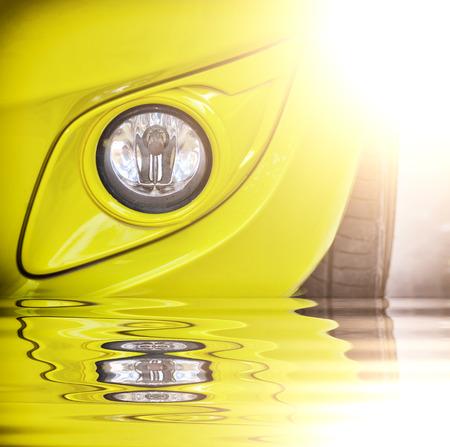 Beautiful Modern Car light with reflect Stock Photo