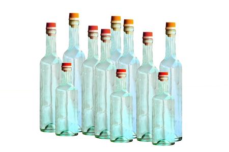 Empty bottle glass on white background