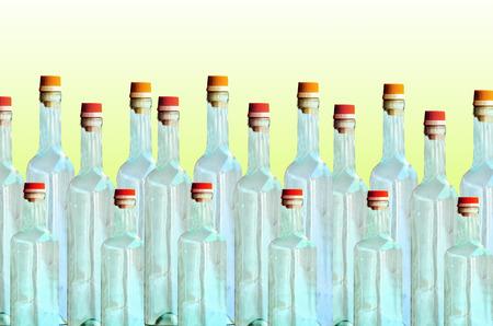 Empty bottle glass on white green background Stock Photo