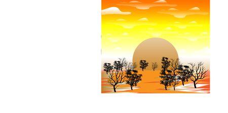 Gold light Lanscape view sunset environment Vector Illustratie