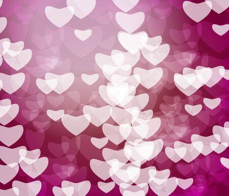 Heart shiny light bokeh on red background