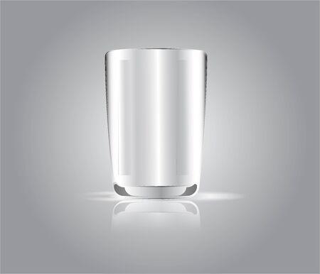 White glass isolate on gray light background Vettoriali