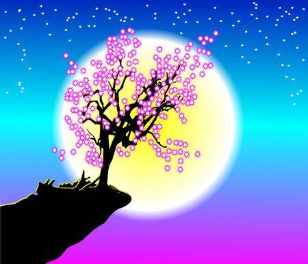 Cherry Blossom under Moonlight in nature