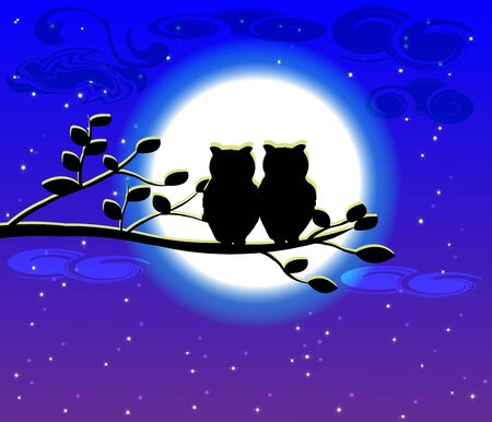Night sky with Silhouette Moonlight background Illustration