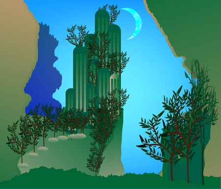 Forgotten Lands in blue sky background Ilustracja