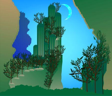 Forgotten Lands in blue sky background Illustration