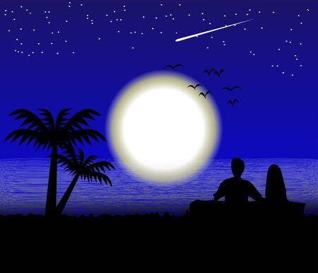 Moon on the Sea landscape romance emotion