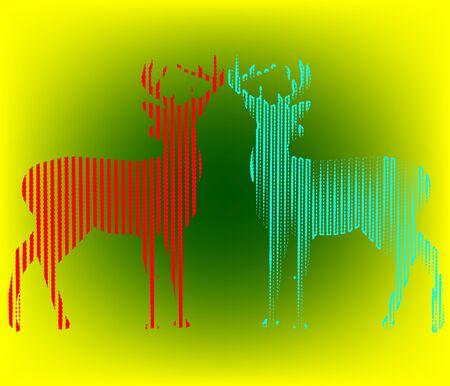 Digital animal deer Line Art background