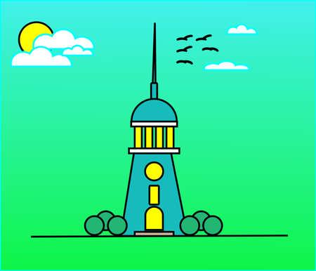Lighthouse near ocean nature background Ilustracja