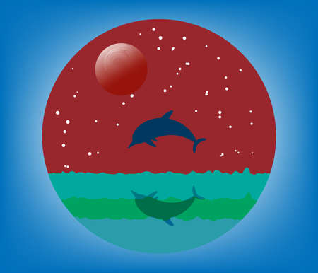 Dolphin silhouette jump in ocean background