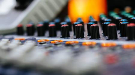 media sound mixer button line Stock Photo