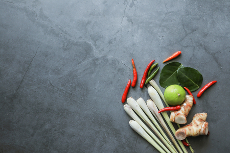 Tom Yum herb top view background Stock Photo