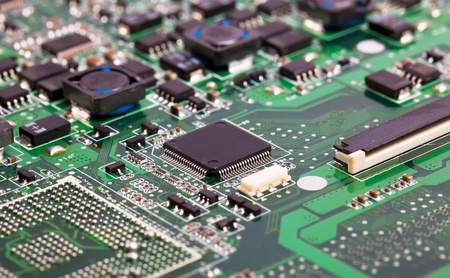 circuitboard: Laptop vista scheda madre verde close sui dettagli