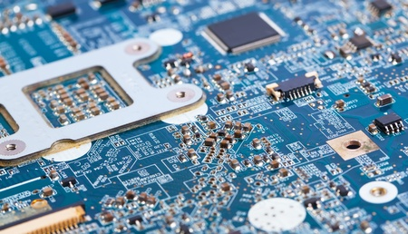 Laptop motherboard blue close view on details photo