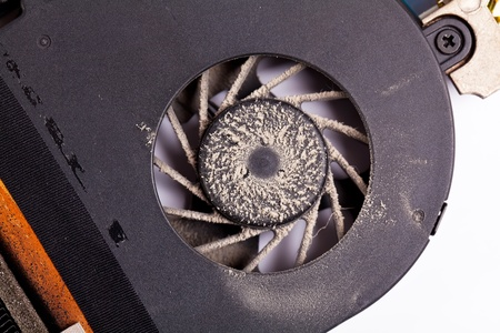 Laptop dirty fan front view with dust Stock Photo