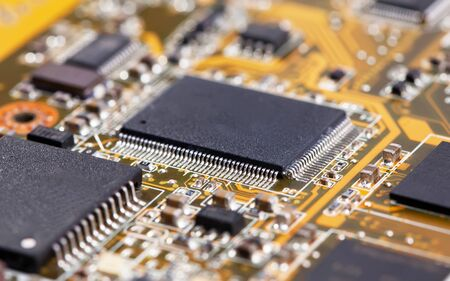 Laptop yellow motherboard with video card Stock Photo - 13345691