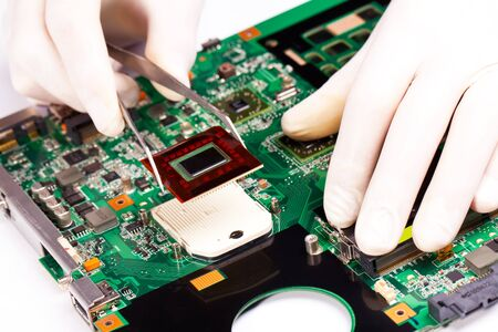 Process of instaling CPU on green mother board