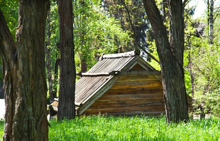 Wooden old style cottage in summer photo