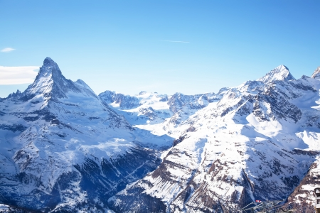 alps: Matterhorn mountain peak in Zermatt Switzerland
