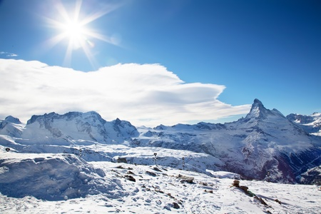 Winter sunny landscape in Zermatt Switzerland