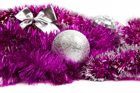 Pink christmas decorations on white background Stock Photo - 15223432