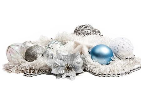 Christmas composition with blue ball and silver flower on white background