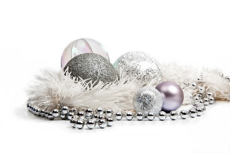 Silver Christmas decorations on white background Stock Photo - 15311652