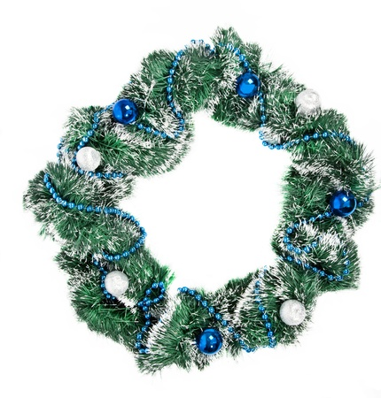 Christmas wreath with blue and silver decorations on white background Stock Photo - 15311664