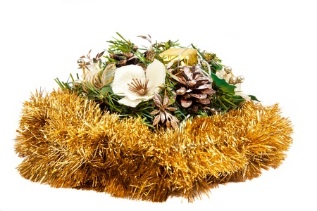 Christmas composition with flowers, cones and tinsel Stock Photo - 15414499
