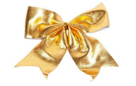Golden Christmas bow isolated on white