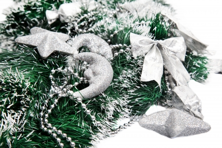 New Year composition with silver beads, stars, bows and moon Stock Photo - 15414502