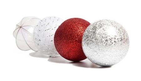 Red Christmas ball among silver and white Stock Photo - 15414489