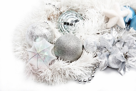 Christmas background with ball, tinsel, garland and beads photo