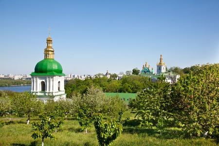 greeen: Kiev Pechersk Lavra monastery and Dnieper river in Kiev