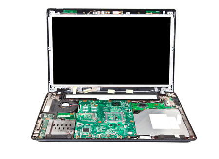 laptop repair: Laptop half disassembled  Laptop repair service