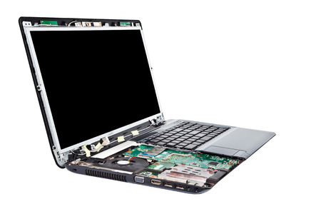 Laptop half disassembled  Laptop repair service