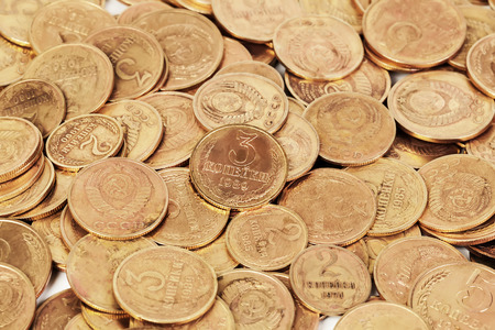 dirty bussines: USSR old golden dirty coins background